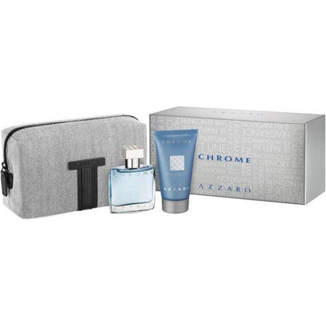 AZZARO Chrome SET: EDT 30ml + shower gel 50ml + νεσεσέρ
