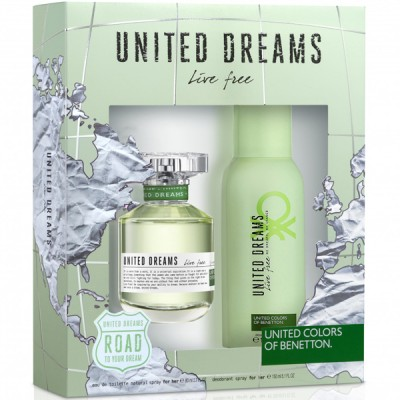 BENETTON United Dreams Live Free SET: EDT 80ml + deodorant spray 150ml