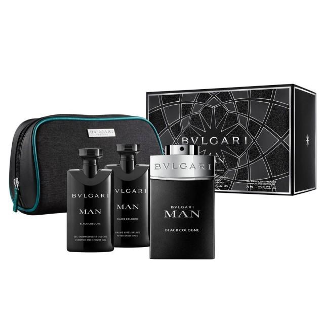 BVLGARI Bvlgari MAN Black Cologne SET: EDT 100ml + aftershave balm 75ml + shower gel 75ml + pouch