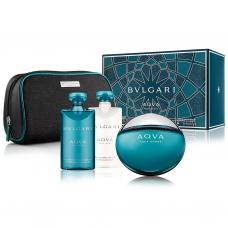 BVLGARI Aqva SET Pour Homme: EDT 100ml + aftershave balm 75ml + shower gel 75ml + pouch