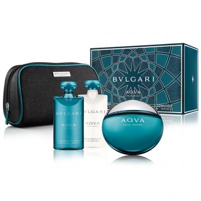 BVLGARI Aqva Pour Homme SET: EDT 100ml + aftershave balm 75ml + shower gel 75ml + pouch
