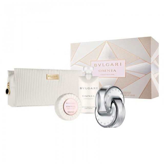 BVLGARI Omnia Crystalline EDT 65ml + body lotion 75ml + scent soap 75gr + Pouch