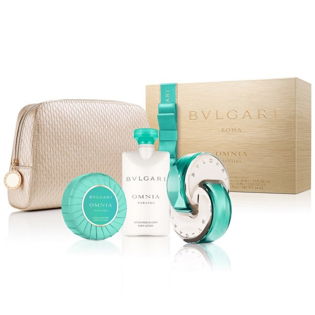 BVLGARI Omnia Paraiba Gift SET EDT 65ml & body lotion 75ml & soap 75g & cosmetic bag