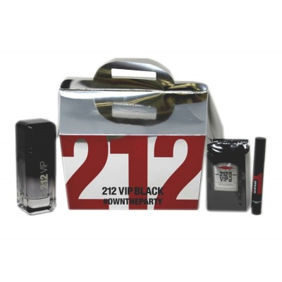 CAROLINA HERRERA 212 VIP Black SET: EDP 100ml + EDP 3ml + 12pcs shower gel 8ml