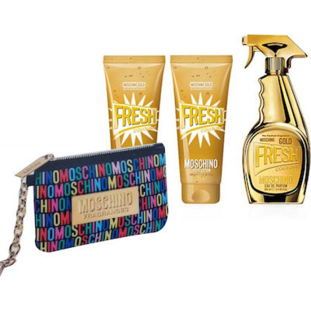 MOSCHINO Gold Fresh Couture SET: EDP 100ml + body lotion 100ml + shower gel 100ml + pouch
