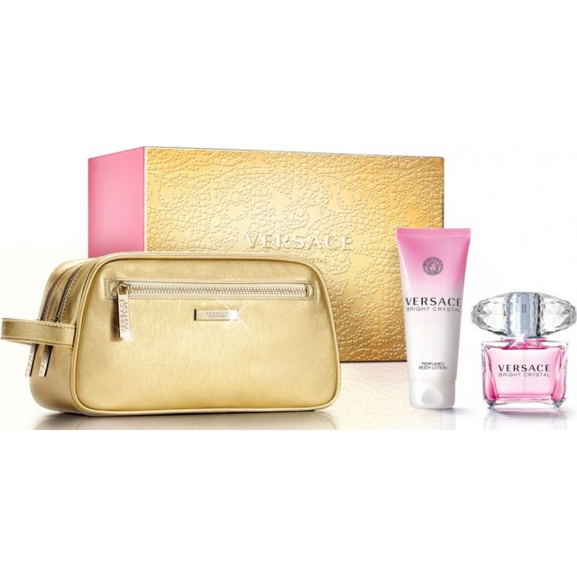 VERSACE Bright Crystal SET: EDT 90ml + body lotion 100ml + pouch