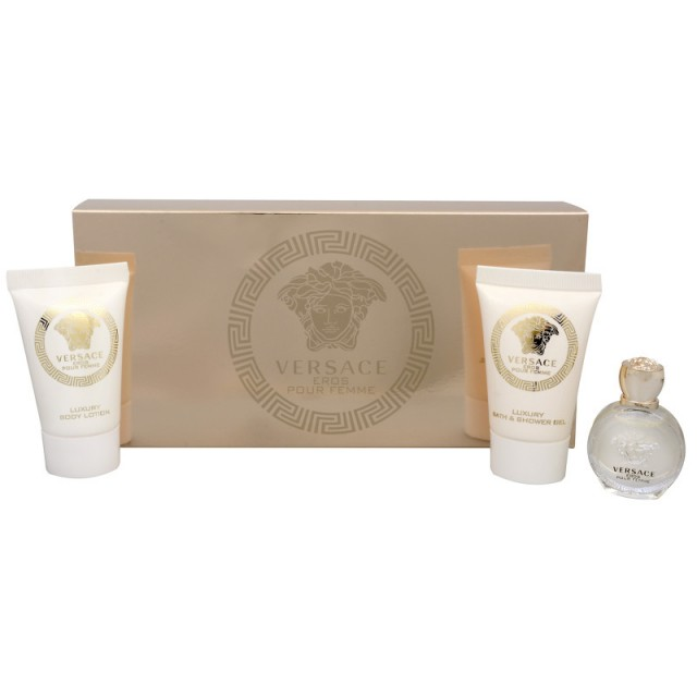 VERSACE Eros pour Femme mini SET:EDP 5ml+body lotion 25ml+shower gel 25ml